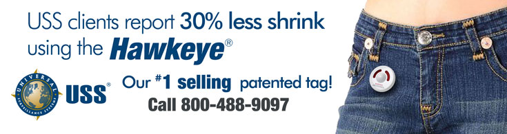 USS clients report 30% less shrink using the Hawkeye - Our #1 selling patented tag!