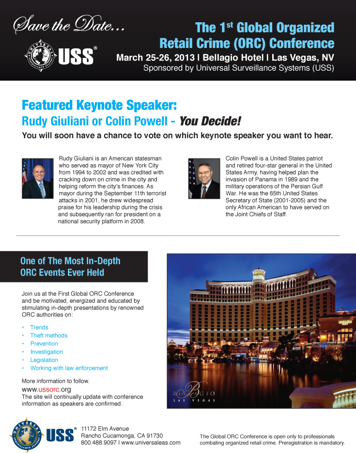 Save the Date: USS - The 1st Global Organized Retail Crime Conference, March 25-26, 2013, Las Vegas, NV