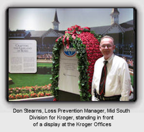 Don Stearns, LPM, Mid South Division for Kroger, standing in front of a display at the Kroger Offices