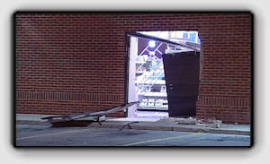 Picture: Police said thieves rammed a van into the back doors of the Best Buy