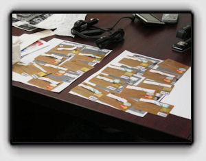 Picture: some of the fake cards the Boise men made